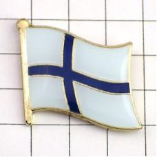 ピンズ・New!フィンランド国旗デラックス薄型留め金付き