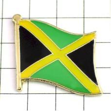 ピンズ・New!ジャマイカ国旗デラックス薄型キャッチ付き中米レゲエ音楽