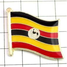 ピンズ・New!ウガンダ国旗デラックス薄型キャッチ付きアフリカ鳥カンムリヅル