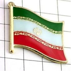 ピンズ・New!イラン国旗デラックス薄型キャッチ付きアラビア語