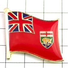 ピンズ・New!マニトバ州旗カナダ国デラックス薄型キャッチ付き野牛バイソン紋章