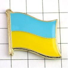 ピンズ・New!ウクライナ国旗デラックス薄型キャッチ付き東欧黒海