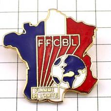 ピンズ・地球フランス地図型トリコロール国旗色