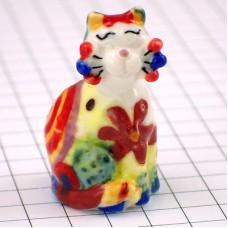 フェブ・花柄リボンのネコ猫