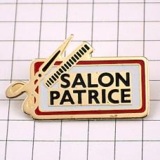 ピンバッジ・美容院のハサミとクシ道具