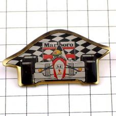 ピンバッジ・アイルトンセナの車ホンダF1チェッカーフラッグ旗