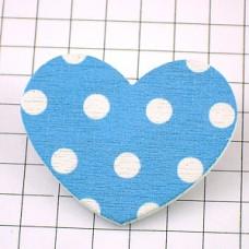 ピンズ・New!水玉ハート型ブルー木製