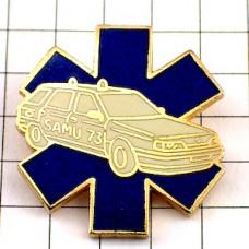 ピンバッジ・青いマークと救急車