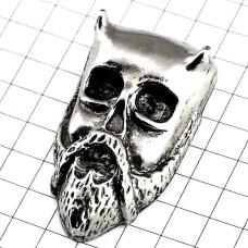 ピンズ・銀色の仮面ドクロ髑髏スカル髭ピューター製