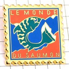 ピンズ・鮭サーモンの世界郵便切手型