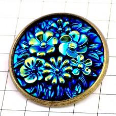 ピンズ・New!ブルー光る青い花