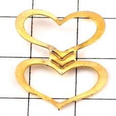 ピンズ・金色のハート型2個