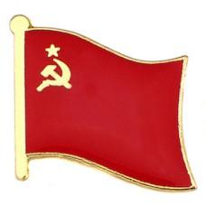 ピンズ・New!ソ連時代ロシア国旗デラックス薄型キャッチ付き共産党スター星