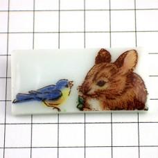 ピンズ・青い小鳥とネズミ鼠リモージュ焼き陶磁器製