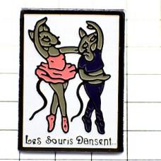 ピンバッジ・バレリーナ踊りネズミの女の子たちバレエ2匹ダンサー