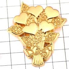 ピンズ・ハートの花束ゴールド金色