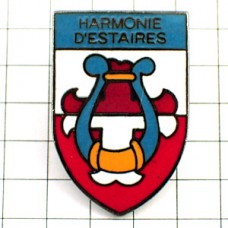 ピンバッジ・竪琴ライアーリラ音楽楽器ハーモニー紋章