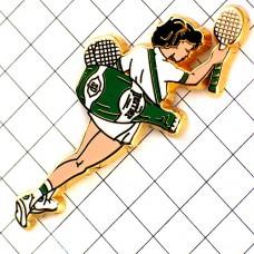 ピンズ・ペリエ瓶の鞄テニス選手の女の子
