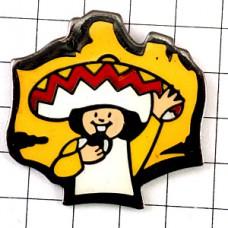 ピンバッジ・クッキーお菓子食べるメキシコ人ソンブレロ帽子