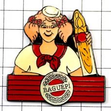 ピンバッジ・パン屋さんのお嬢さんバゲット一本