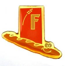 ピンバッジ・バゲット一本パン用小麦の穂F