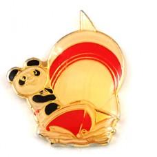 ピンズ・北京アジア競技大会パンダのパンパン船マスコット波の上