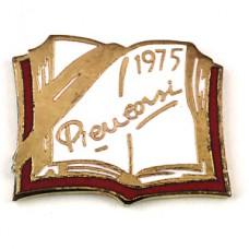 ピンバッジ・白いページに文字1975書籍本