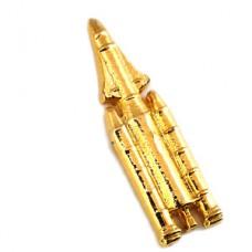 ピンバッジ・アリアンヌ5ロケット宇宙ゴールド金色