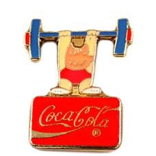 ピンバッジ・真っ赤な顔のコビ五輪バルセロナ重量挙げオリンピック夏コカコーラ