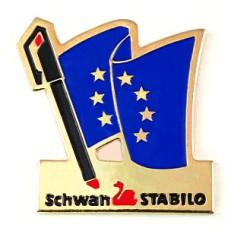 ピンバッジ・スワン白鳥スタビロ文房具EU欧州連合ユーロ星の旗