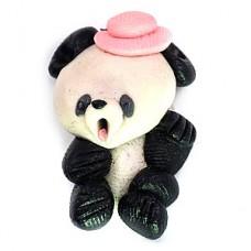 ピンズ・粘土のパンダ熊猫ピンク色の帽子