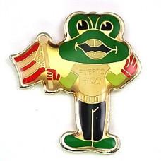ピンズ・プエルトリコ国旗を振るカエル緑蛙
