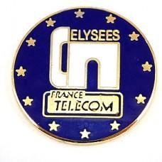 ピンバッジ・フランステレコム電話会社シャンゼリゼ凱旋門EU欧州連合の旗の星