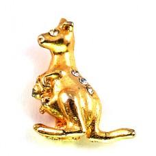 ピンバッジ・金色のカンガルー親子ゴールド光る