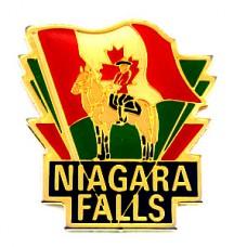ピンバッジ・王立カナダ騎馬警察ナイアガラの滝カエデ国旗