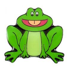 ピンズ・緑色の蛙カエル舌を出す