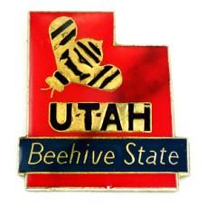 ピンズ・ユタ州アメリカ地図型ミツバチ蜜蜂/USA