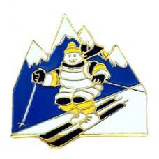 ピンズ・スキーするミシュランのビバンダムくん雪山