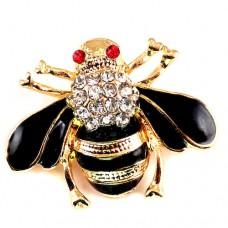 ブローチ・New!ミツバチ蜜蜂ラインストーン黒い羽根