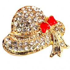 ブローチ・New!ラインストーンの帽子リボン赤