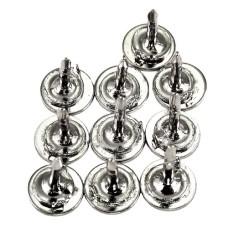 ピンバッジ土台の広い針◆ピンズ用銀色10本で1セット長さ8.5mm直径6mmストッパー付シルバー色ピンバッチ