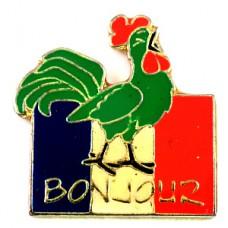 ピンズ・雄鶏ニワトリ国鳥ボンジュール国旗フランス青白赤