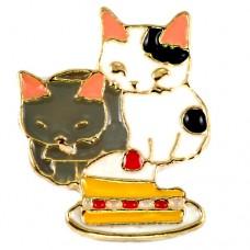 ピンズ・New!苺のショートケーキを食べる猫たち