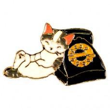 ピンズ・New!黒電話と猫