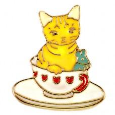 ピンズ・New!コーヒーカップと猫とネズミ