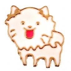 ピンズ・New!白いフサフサの犬