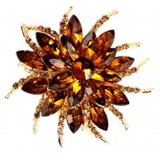 ブローチ・琥珀色のラインストーン花