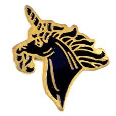ピンバッジ・一角獣ユニコーン黒い馬