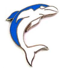 ピンズ・水色のイルカ一頭ドルフィン魚