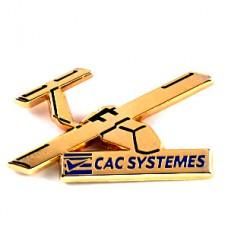 ピンズ・金色の小型飛行機チェック軍用機ミリタリー
